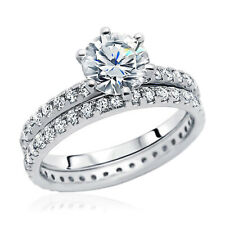 Women 8mm Rhodium Plated Sterling Silver Ring CZ Engagement Bridal Set Band