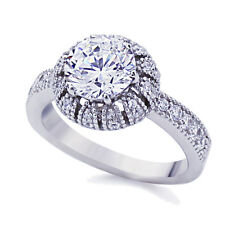 Women 3.5mm Platinum Plated Sterling Silver 2ct CZ Vintage Engagement Ring set