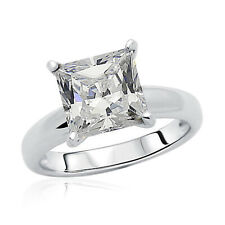 Women 8.5mm Rhodium Plated Silver Ring Princess CZ Solitaire Engagement Band