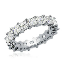 Women 4.5mm Rhodium Plated Silver Ring Princess CZ Eternity Engagement Band