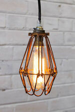Wire Cage Industrial Pendant - Trouble Light in Antique Brass, Black, Rusty