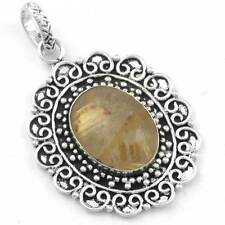 925 Sterling Silver Overlay Stylish Pendant Golden Rutilated Quartz cg38576
