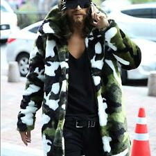 Mens Stylish Faux Jackets Fox Fur Winter Camouflage Coats Trench Outwears Coats