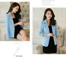 Stylish Womens New Candy Color One Button Blazer Casual Jacket Slim Suit Coat