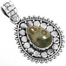 925 Solid Sterling Silver Natural Crazy Lace Agate Designer Pendant cg75862