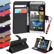 For HTC One Mini Case Leather Wallet Cover with Credit Card Slots
