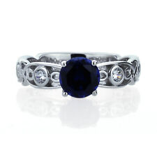 Women 7mm 14K White Gold 1.25 ct Simulated Sapphire CZ Wedding Engagement Ring