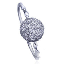 Women's Fine band 14K White Gold CZ Pave Ball Solitaire Twisted Engagement Ring