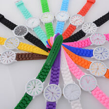 Fashion Women Mens Boys Girls simple Silicone Jelly Sports Quartz Wrist Watch