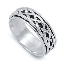 Men Women 8mm 925 Sterling Silver Ring Celtic Design Spinner Wedding Band