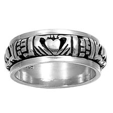Men Women 9mm 925 Sterling Silver Band Oxidized Finish Claddagh Spinner Ring