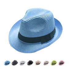 Unisex Women Men Fashion Summer Beach Sun Topee Straw Cap Fedora Trilby Hat