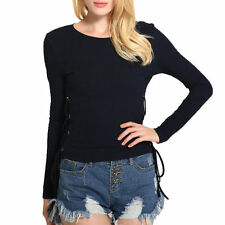 Casual Fashion Womens Long sleeved sweat shirt Round Neck Slim Bottoming Tops