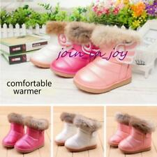 New Kids Girls Fur Lined Winter Warm Snow Boots Faux Leather Antiskid Flat Shoes