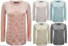 New women's Ladies cable knit chunky Aran Style warm jumper sweater Top winter
