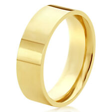 Men Women 14K Yellow Gold 6mm Plain Flat Wedding Band Right Hand Ring / Gift Box