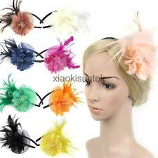 Bridal Ladies Feather Fascinator Flower Veil Hat Hairband Party Costume