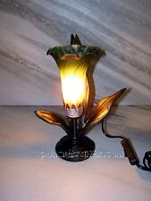 1 Lily Table Lamp Amber-Green Glass Lily Shade  TL3601A