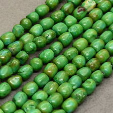 "15 3/8"" GREEN TURQUOISE HOWLITE GEMSTONE NUGGET BEADS STRAND(1 STRAND) 7X7X6MM"