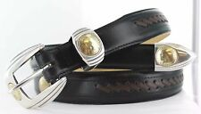 """WESTERN GOLD $2.50 & $5.00 COIN REPRODUCTION CONCHO BELT LEATHER 1 1/4 """" NEW NWT"""