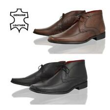 MENS REAL LEATHER CASUAL FORMAL OFFICE SQUARE TOE LACE UP ANKLE BOOTS SHOES SIZE