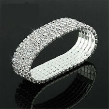 Clear Crystal Rhinestone Stretch Bracelet Bangle Wedding Bridal Wristband rr