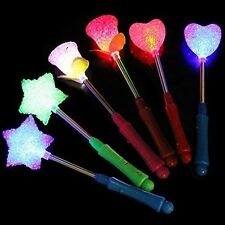 3X LED Flashing light up stick Color Glow Rose Star Wand Party Concert Festival