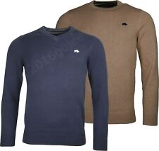 NEW MENS RAGING BULL KNITTED PULLOVER JUMPER - Cotton/Cashmere Crew or V-Neck Sw