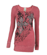 Vocal Women Tunic Shirt Crystal Button Front Cross Scroll Tribal Mineral Wash