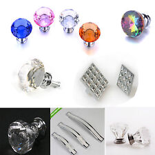 Glass Crystal Cabinet Cupboard Closet Drawer Door Pulls Knobs Handle multiple