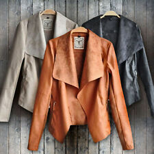 New Women Punk Slim Biker Motorcycle Short Jacket Lapel PU Leather Coat Outwear