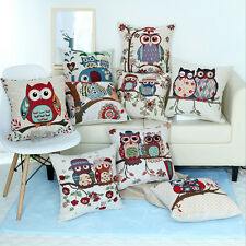 New Home Decor Owl Family Cushion Cover Throw Sofa Pillow Case Cotton Linen Gift