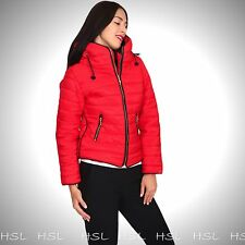 New Womens Ladies Fur Collared Padded Puffer Bubble Hooded Quilted Jacket Coat