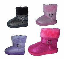 New Baby Toddler Girls Winter Glitter Faux Suede Boots Warm Gift Fancy Party