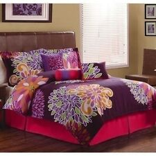 NEW Twin Full Queen King Bed 7 pc Purple Pink Orange Floral Comforter Set NWT