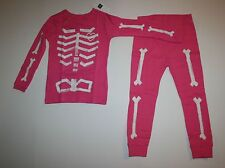 NEW Baby Gap 2 Piece PJs Glow in Dark Pink Skeleton Halloween Set NWT 2T 3T 5T
