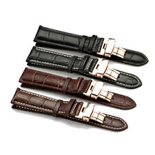 GENUINE CALF LEATHER WATCH BAND CROCO STRAP STEEL DEPLOYANT CLASP BK SALABILITY