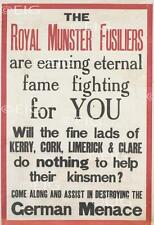 The Royal Munster Fusiliers Irish WW1 Recruitment Poster Print - Size Select