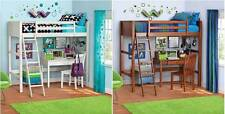 Twin Bunk Loft Bed Kids Teen Bedroom Sturdy Pine Wood Furniture with Ladder