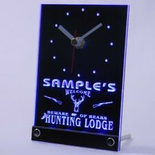 tncQL-tm Personalized Custom Hunting Lodge Firearms Neon Led Table Clock