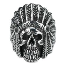 Inox Jewelry 316L Stainless Steel Indian Chief Skull Ring