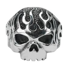 Inox Jewelry 316L Stainless Steel Flaming Skull Ring