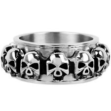 INOX Jewelry 316L Stainless Steel Skull Spin Ring