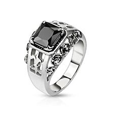 Spikes Stainless Steel Black Gem Fleur De Lis Band Ring