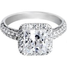 Sterling Silver Princess Cubic Zirconia Ring -2.41 ct tw