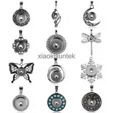 Silver Alloy Rhinestone Pendant Snaps Fit DIY Snap Ginger Snaps Button Necklace