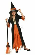 SALE! Kids Gothic Witch Girls Halloween Party Fancy Dress Costume Outfit