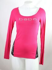 BEBE logo stretch crystals t shirt ribbed Round NECK 263491 sleeve red pink