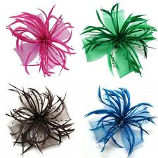Net Bow and Feathers Hair Beak Clip Brooch Corsage Bridal Fascinator Races