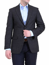 Tommy Hilfiger Trim Fit Charcoal Textured Soft Tailored Two Button Wool Blazer